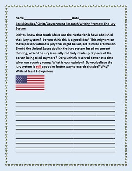 SOCIAL STUDIES/CIVICS/GOVERNMENT WRITING PROMPT: THE JURY SYSTEM