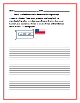 SOCIAL STUDIES/ECONOMICS WRITING RESEARCH PROMPT: AMERICAN JOBS
