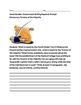 SOCIAL STUDIES/GOVERNMENT WRITING RESEARCH PROMPT: TYRANNY OF THE MAJORITY