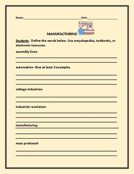 SOCIAL STUDIES /HISTORY: MANUFACTURING