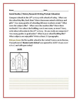 SOCIAL STUDIES/ HISTORY RESEARCH WRITING PROMPT: EDUCATION