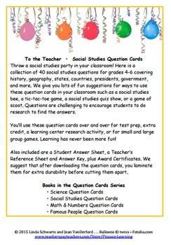 SOCIAL STUDIES QUESTION CARDS
