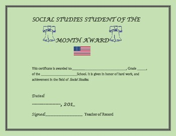 SOCIAL STUDIES STUDENT OF THE MONTH AWARD