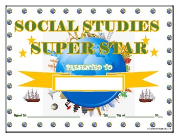 SOCIAL STUDIES Super Star Certificate!  For Primary and Middle School Grades!