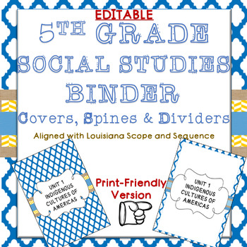 SOCIAL STUDIES UNIT BINDER COVERS 5TH GRADE LOUISIANA SCOPE AND SEQUENCE