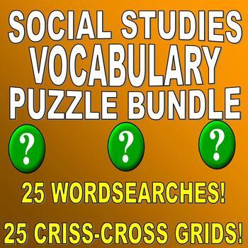 SOCIAL STUDIES VOCABULARY PUZZLES - 50 PUZZLE SET