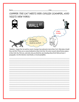 SOCIAL STUDIES WRITING/ GEOGRAPHY PROMPT: COPPER THE CAT GOES TO NEW YORK!