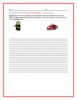 SOCIAL STUDIES WRITING PROMPT: APPRECIATING FIREFIGHTERS