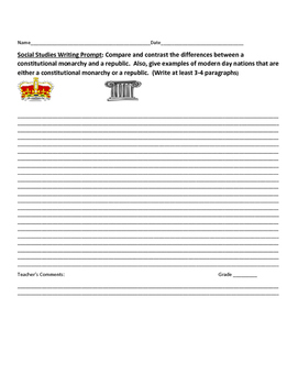 SOCIAL STUDIES WRITING PROMPT: COMPARE CONSTITUTIONAL MONARCHY & REPUBLIC