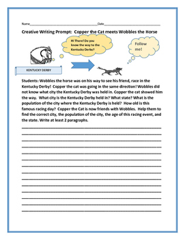 SOCIAL STUDIES WRITING PROMPT: GEOGRAPHY: WOBBLES & COPPER THE CAT