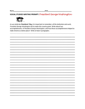 SOCIAL STUDIES WRITING PROMPT: GEORGE WASHINGTON