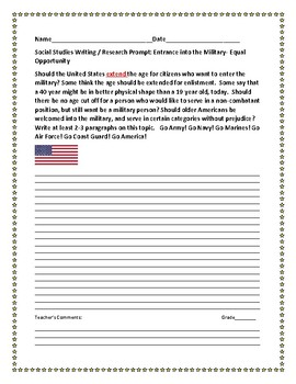 SOCIAL STUDIES WRITING PROMPT: MILITARY CUT OFF AGE?