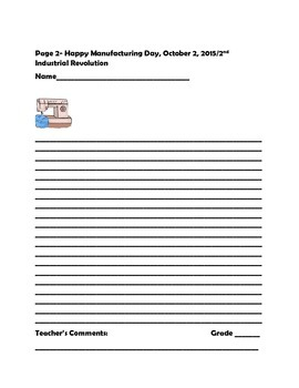 SOCIAL STUDIES WRITING PROMPT:MANUFACTURING DAY 10/2 & 2ND INDUSTRIAL REVOLUTION