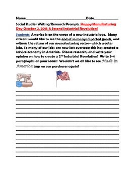 SOCIAL STUDIES WRITING PROMPT:MANUFACTURING DAY 10/2 & 2ND
