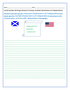 SOCIAL STUDIES WRITING/RESEARCH PROMPT: DECLARATION OF INDEPENDENCE