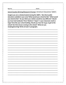 SOCIAL STUDIES WRITING/RESEARCH PROMPT: SCHOOL 1800'S, AP HISTORY