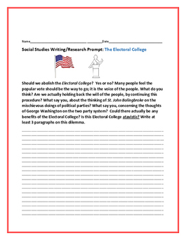 SOCIAL STUDIES WRITING/ RESEARCH PROMPT: THE ELECTORAL COLLEGE