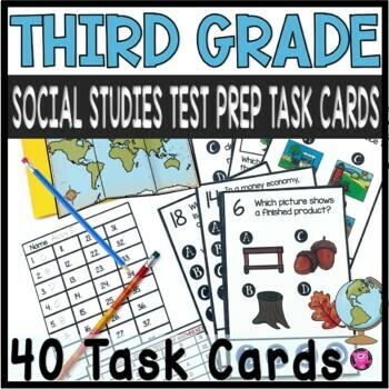 Social Studies 3rd Grade Tasks Scoot Game for State Testin