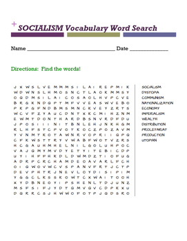 SOCIALISM Vocabulary Word Search