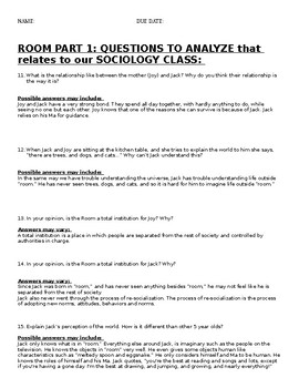 SOCIOLOGY MULTI-DAY LESSON OVER THE MOVIE ROOM
