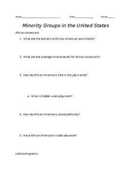 SOCIOLOGY - Minority Groups in the United States In-Class Research Comparison