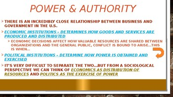 SOCIOLOGY - Political & Economic Institutions PPT