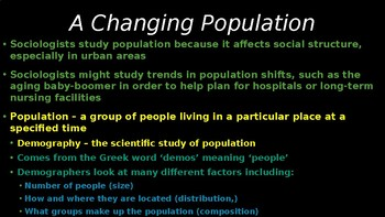SOCIOLOGY - Population & Urbanization PPT