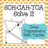 SOH-CAH-TOA Solve It ~ 3 Sine Cosine & Tangent Puzzles