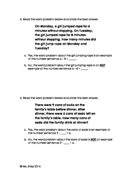SOL 2.21 Assessment & Study Guide (Word Problems & Missing Parts)