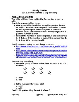 SOL 2.4 Even/Odd and Skip Counting Study Guide