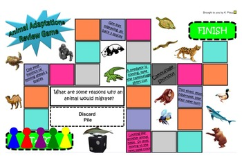 SOL 2.7, 3.4 Animal Adaptations- Board Game Review for Smart Notebook