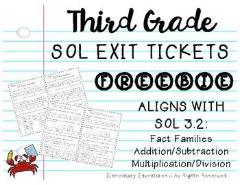 SOL 3.2 Math Exit Tickets FREEBIE