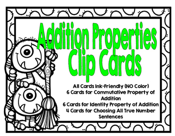 SOL 3.20 Properties of Addition Clip Cards