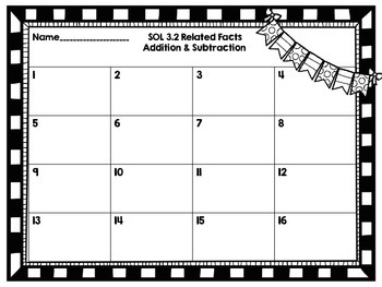 SOL 3.2 Related Facts Task Cards-Addition and Subtraction Only