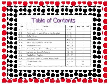 4th Grade Math Task Cards/ WHOLE YEAR/ SOL 4.1 to SOL 4.16 -- ALL Standards!!