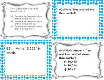 SOL 4.3 a-d / Math Task Cards / Decimals