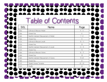SOL 4.6 - 4.8/ Math Task Cards / Measurement (Length, Weight & Volume)