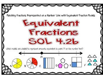 SOL 4.2b Task Cards for Equivalent Fractions-Number Lines and Fraction Models