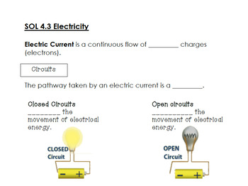 SOL 4.3 Electricity Interactive Notes