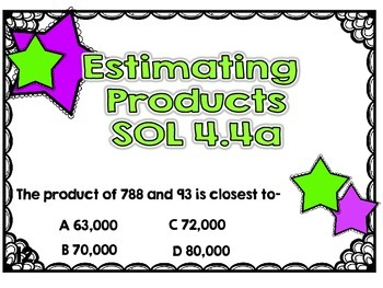 SOL 4.4a Task Cards for Estimating Products