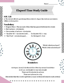 SOL 5.11 Elapsed Time Study Guide