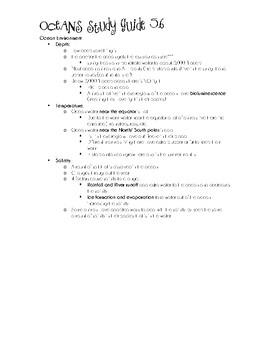 SOL 5.6 Oceans Study Guide