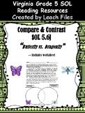 5th Grade VA SOL 5.6j COMPARE&CONTRAST: BUTTERFLY VS DRAGONFLY