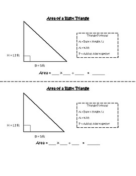 SOL 5.8 Area of a Right Triangle Notes and Practice