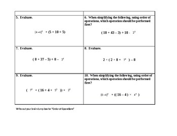 SOL 6.6 C Order of Operations Assignment