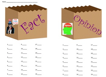 SOL Fact or Opinion Sort Game Activity