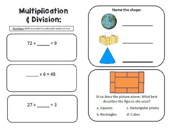Third Grade Math Review Book - SOL Aligned