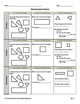 SOL Morning Work by Strand - 3rd Grade Math - Geometry