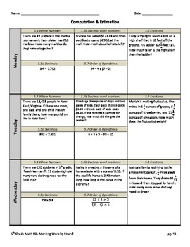 SOL Morning Work by Strand - 5th Grade Math - Computation
