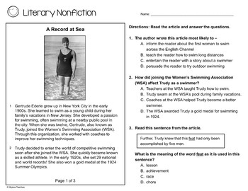 SOL Narrative Non-Fiction Practice Worksheets (SOL 4.4 and 4.5)
